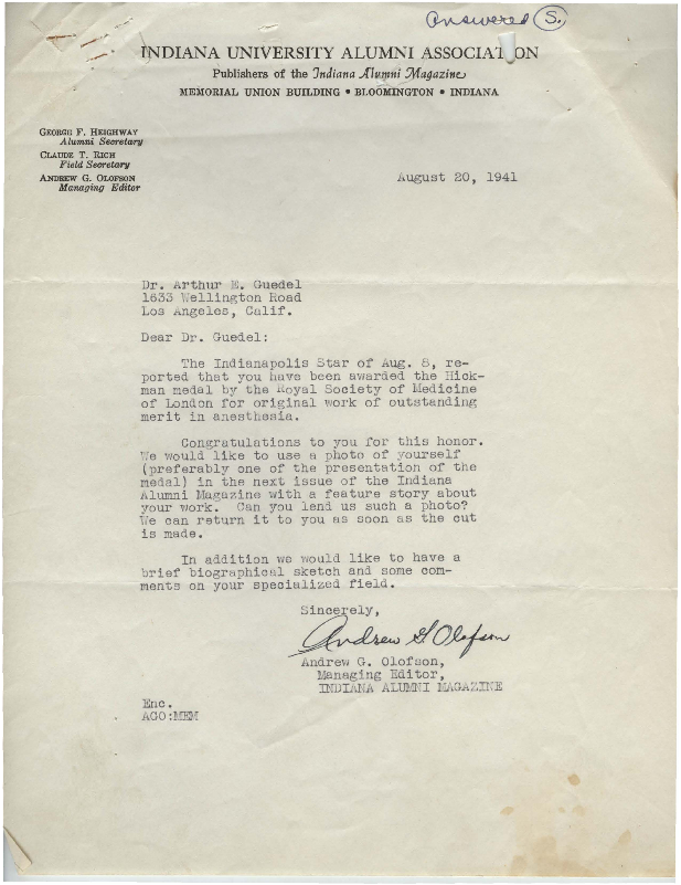 Andrew Olofson letter to Arthur E. Guedel