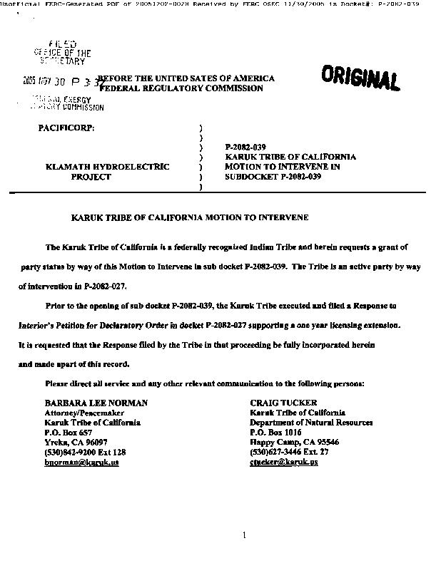Karuk Tribe of California Motion to Intervene