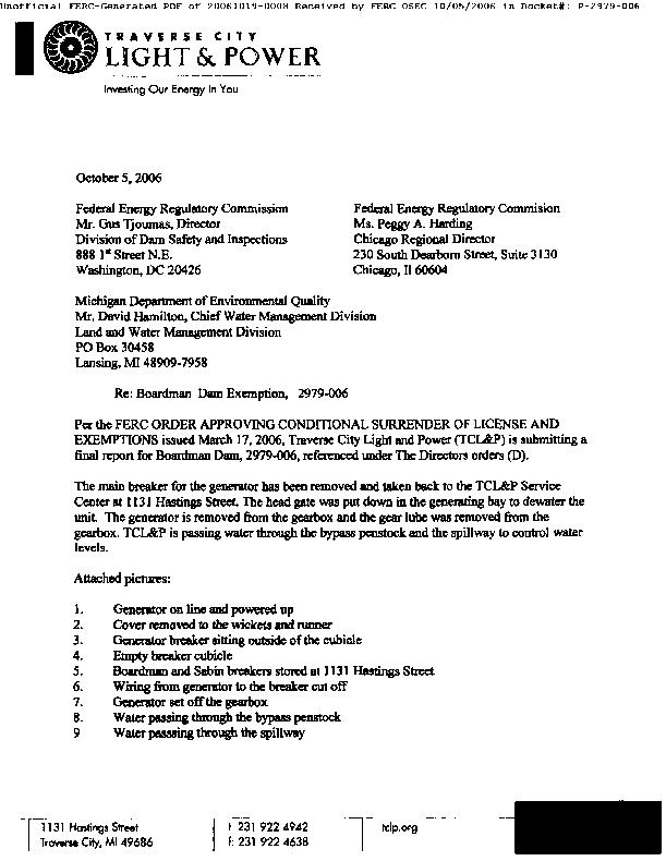 FInal Report for Boardman Dam, Boardman Dam Exemption