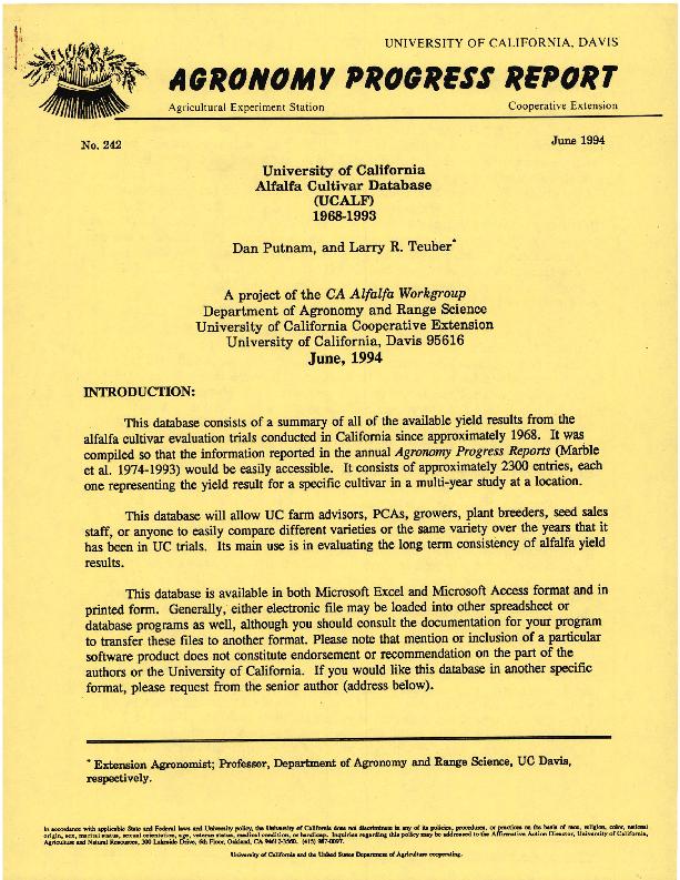 Alfalfa Cultivar Database(UCALF) 1968-1993
