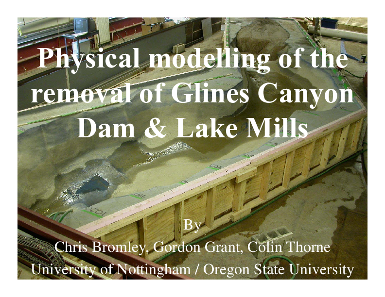 A scaled physical modeling investigation of the potential response of the Lake Mills delta to different magnitudes and rates of removal of Glines Canyon Dam from the Elwha River, WA