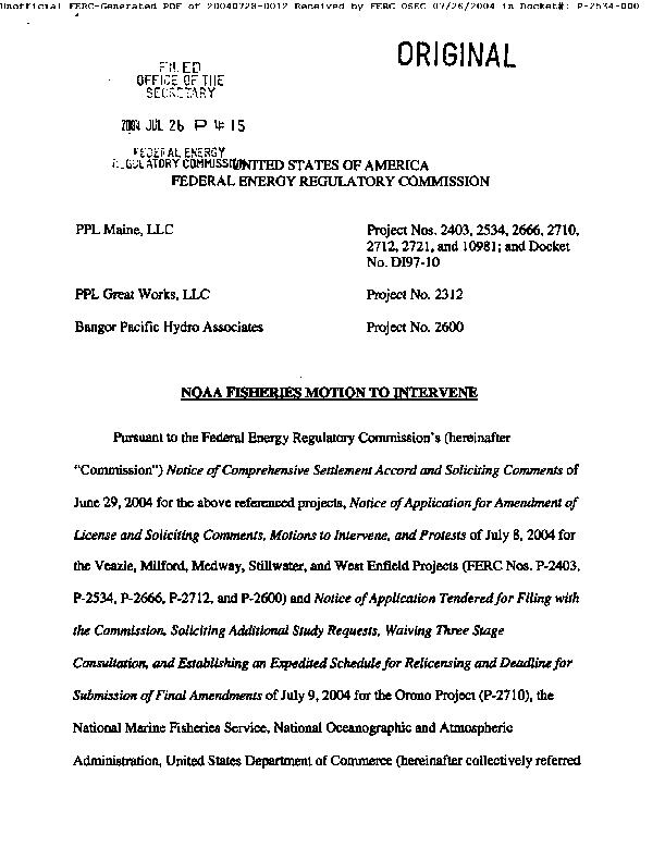 NOAA Fisheries Motion to Intervene