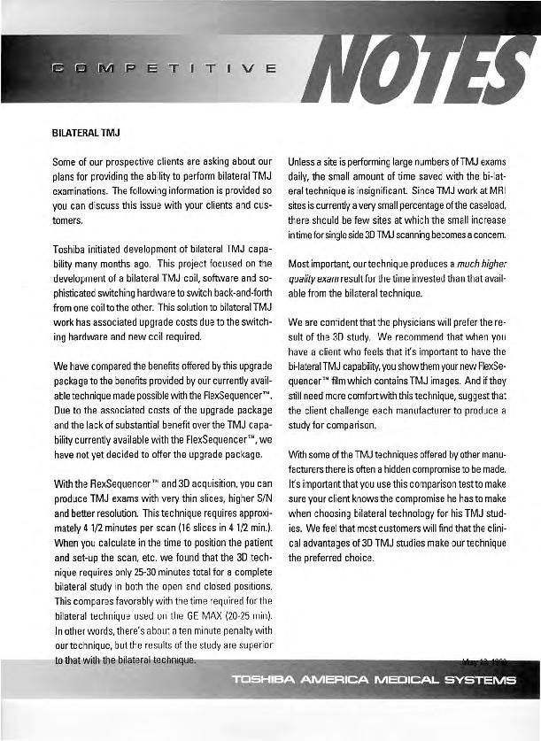 Toshiba America Medical Systems Competitive Notes: Bilateral TMJ (temporomandibular joint)