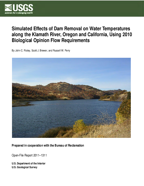 Simulated Effects of Dam Removal on Water Temperatures along the Klamath River, Oregon and California, Using 2010 Biological Opinion Flow Requirements