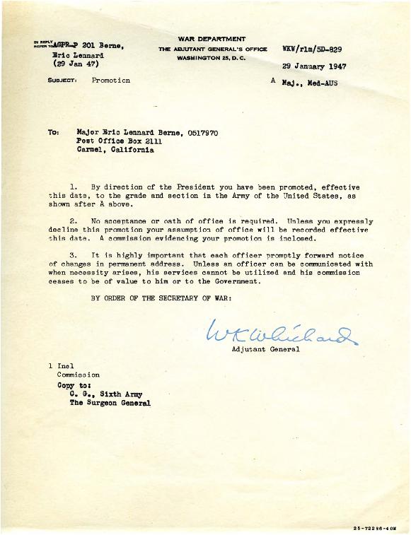 Adjutant General letter to Eric Berne,  1947-01-29