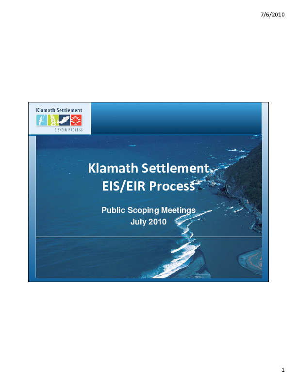 Klamath Settlement EIS/EIR Process Public Scoping Meeting