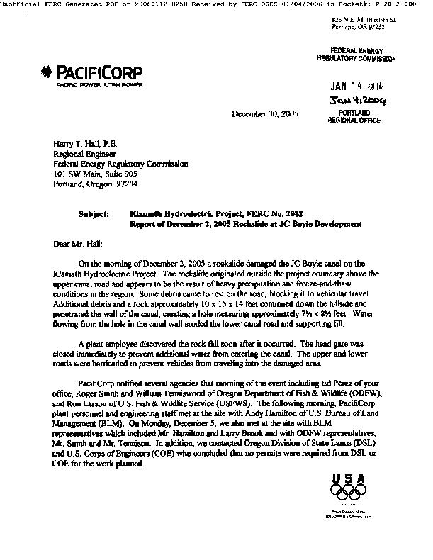 Report of December 2, 2005 Rockslide at JC Boyle Department