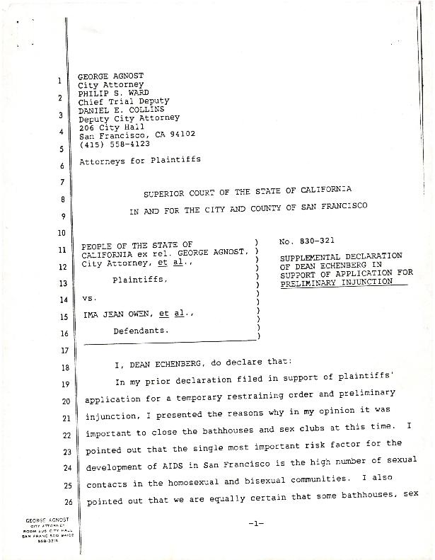 Supplemental declaration of Dean Echenberg