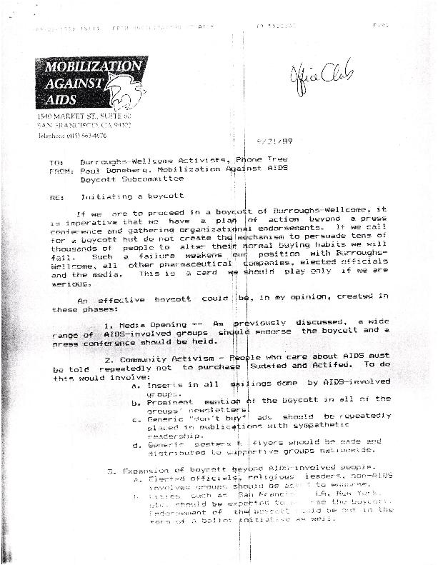 Programs: Burroughs Wellcome - Boycott - Advisory Board
