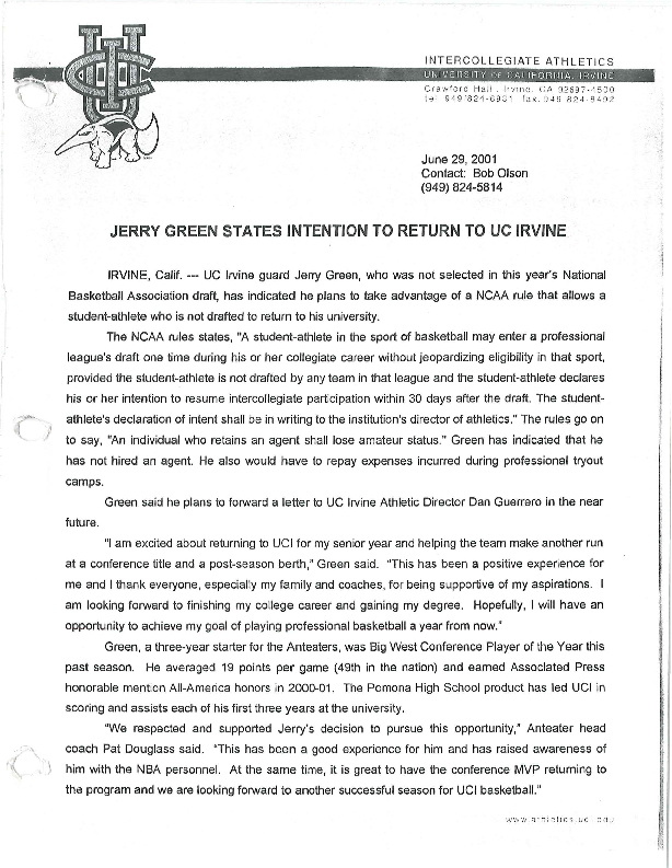2000-2001 News releases