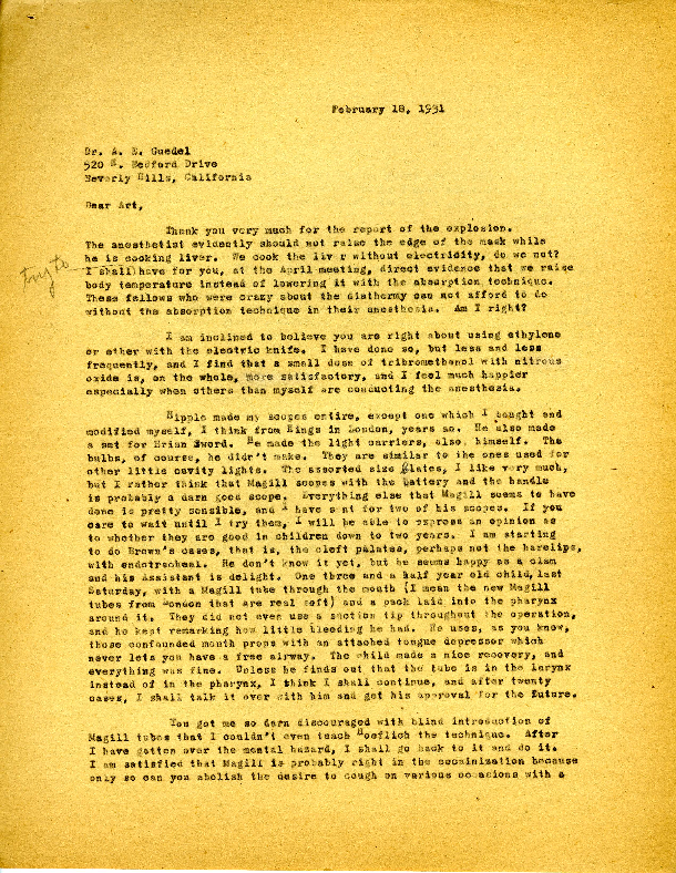 Ralph Waters letter to Arthur E. Guedel