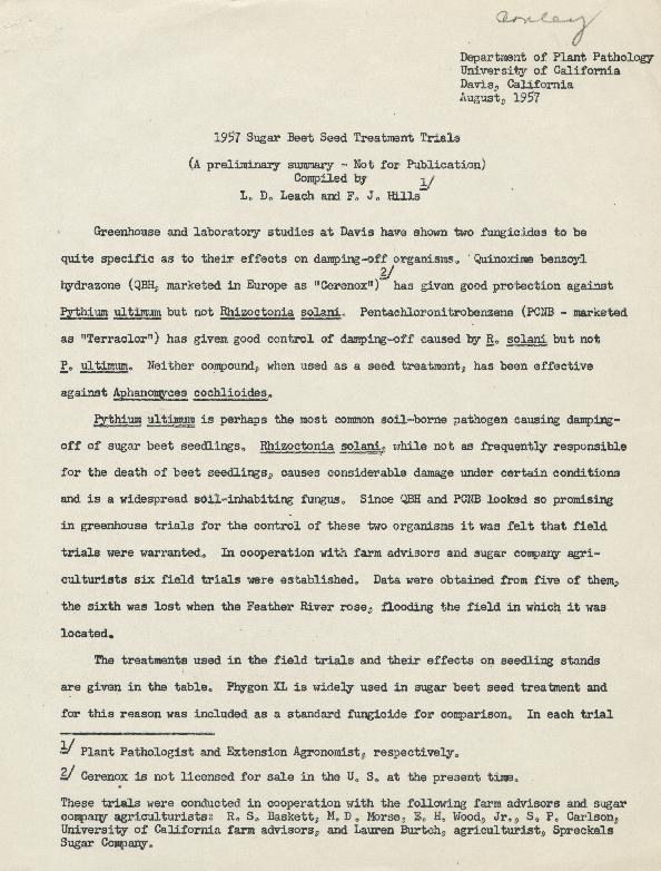 1957 Sugar Beet Seed Treatment Trials