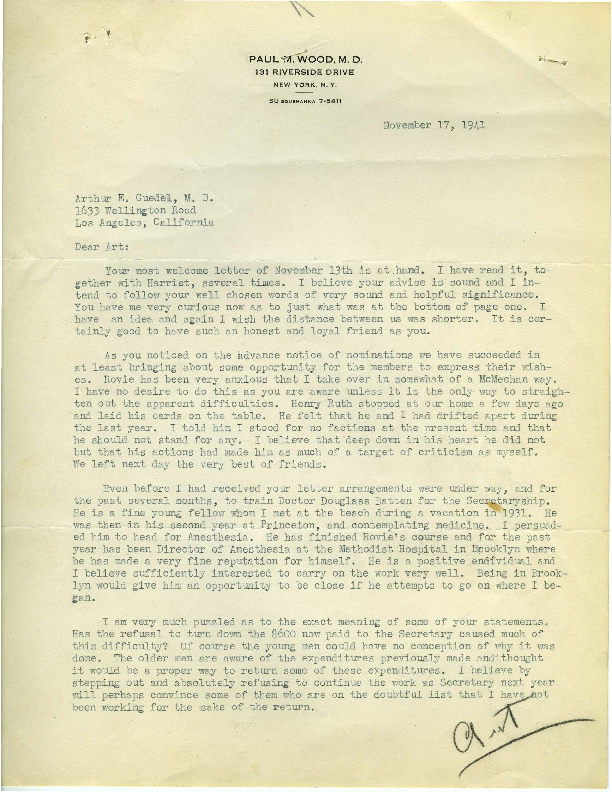 Letter from Dr. Paul M. Wood to Arthur E. Guedel