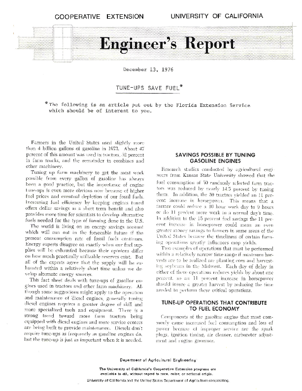 Engineer's Report--Tune-Ups Save Fuel