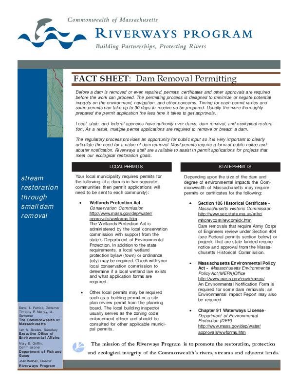 Fact Sheet: Dam Removal Permitting (Massachusetts)