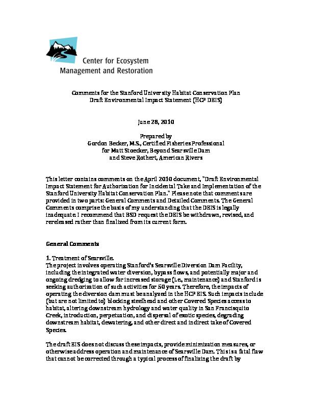 CommentsfortheStanfordUniversityHabitatConservationPlan DraftEnvironmentalImpactStatement(HCPDEIS)