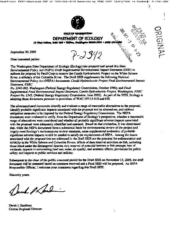 Condit Dam Removal SEPA Draft Supplemental Environmental Impact Statement
