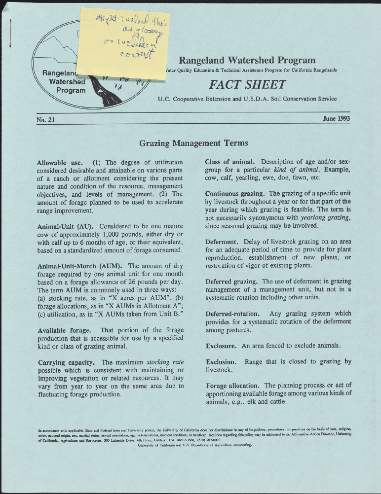 Rangeland Watershed Program--Grazing Management Terms