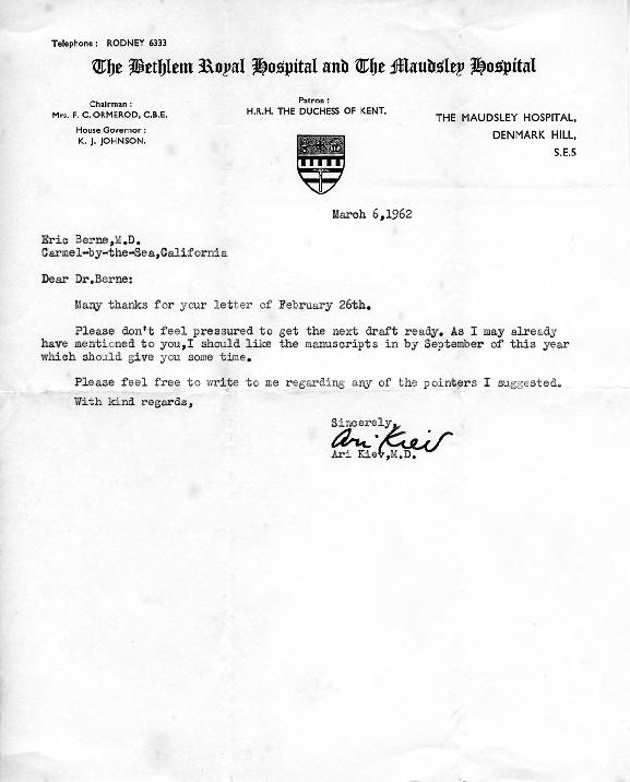 Ari Kiev letter to Eric Berne,  1962-03-06