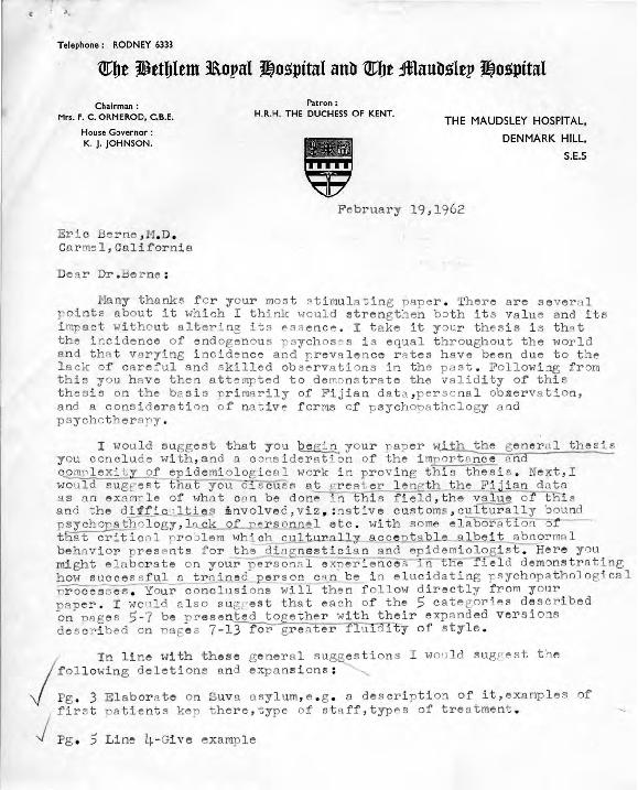 Ari Kiev letter to Eric Berne,  1962-02-19