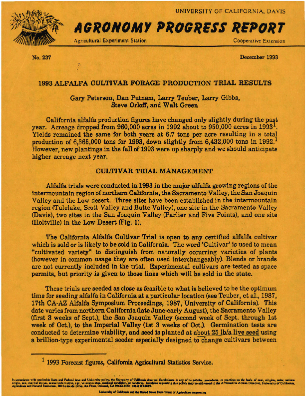 1993 Alfalfa Cultivar Forage Production Trial Results