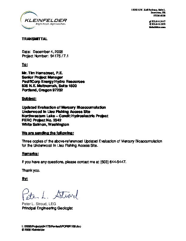 Updated Evaluation of Mercury Bioaccumulation - Dec 2008