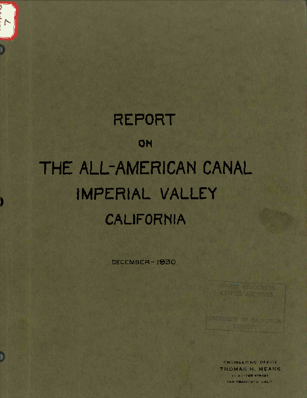 Report on the All-American Canal, Imperial Valley, California