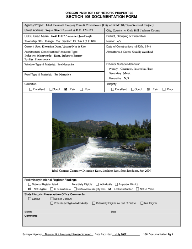 Oregon Inventory of Historic Properties (Gold Hill Dam)