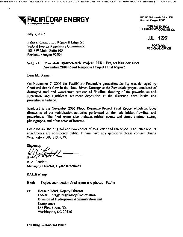November 2006 Flood Response Project Final Report