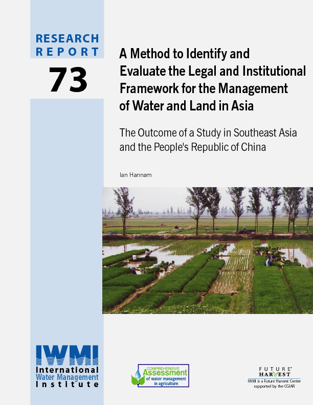 A method to identify and evaluate the legal and institutional framework for the management of water and land in Asia: the outcome of a study in Southeast Asia and the Peoples Republic of China