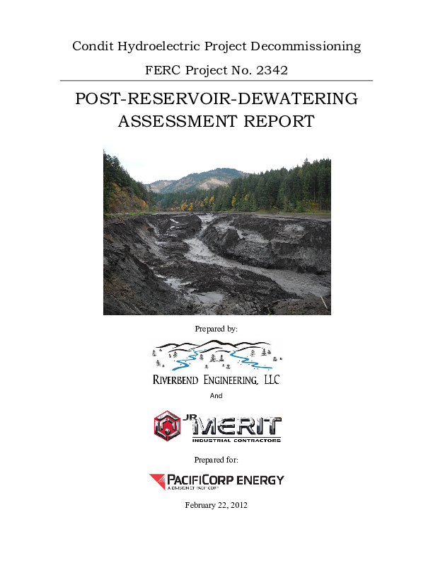 Condit Hydroelectric Project Decommissioning, Post-Reservoir-Dewatering Assessment Report