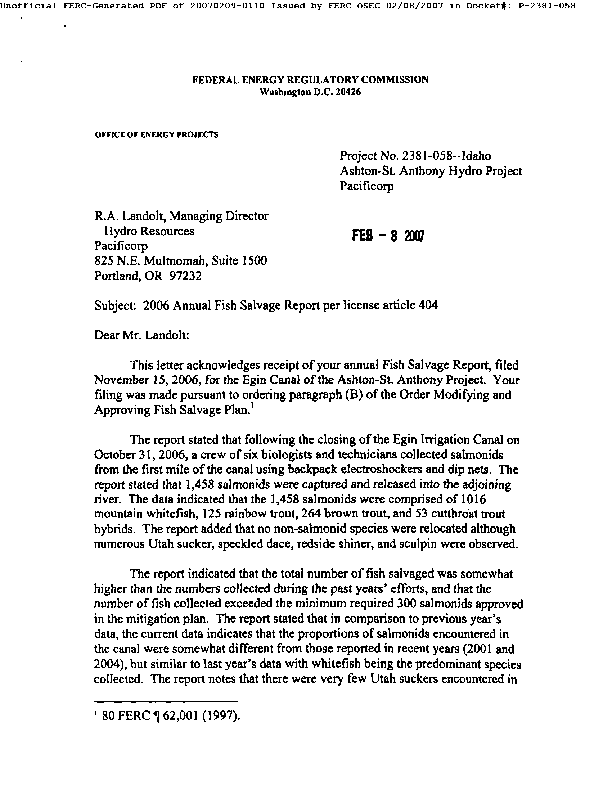 2006 Annual Fish Salvage Report per license article 404