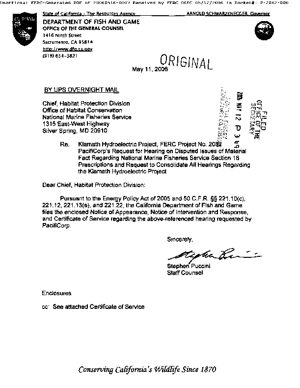 Notice of Appearance, Notice of Intervention and Response from the California Department of Fish and Game for National Marine Fisheries Service Hearing