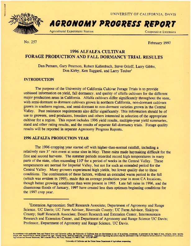 1996 Alfalfa Cultivar Forage Production and Fall Dormancy Trial Results