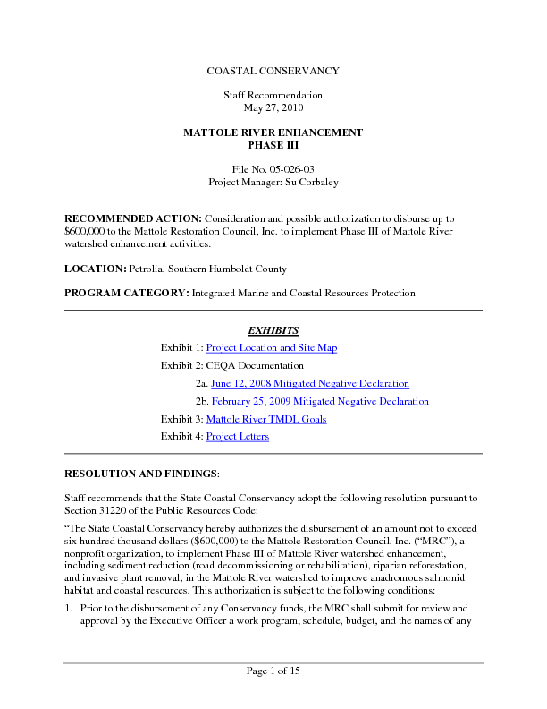 Staff recommendation, May 27, 2010: Mattole River enhancement, phase III