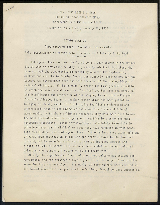 Speech proposing the establishment of an experiment station in Riverside