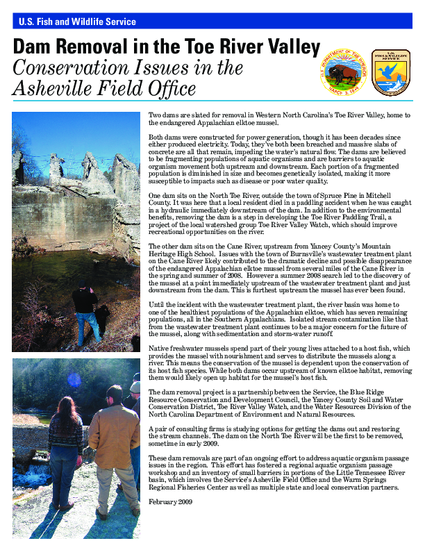 Dam Removal in the Toe River Valley: Conservation Issues in the Asheville Field Office