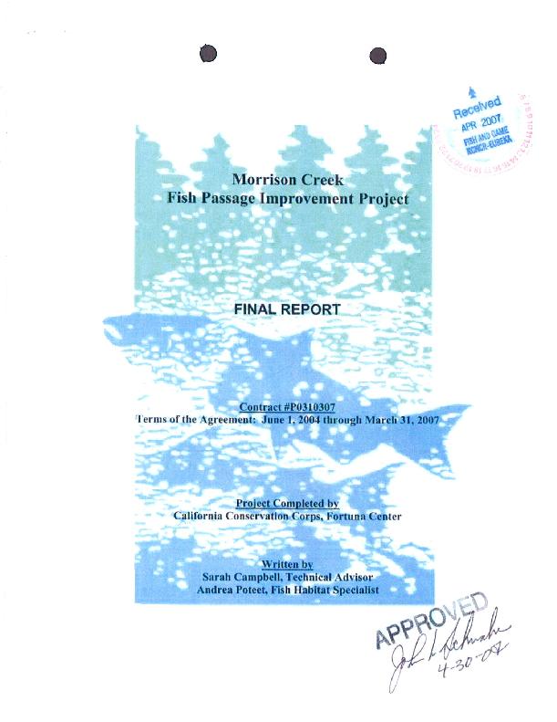 Morrison Creek Fish Passage Improvement Project