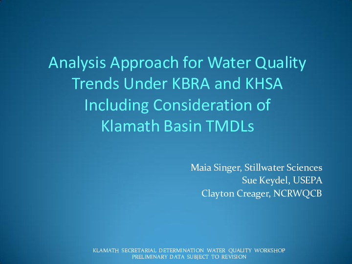 Analysis Approach for Water Quality Trends Under KBRA and KHSA Including Consideration of Klamath Basin TMDLS
