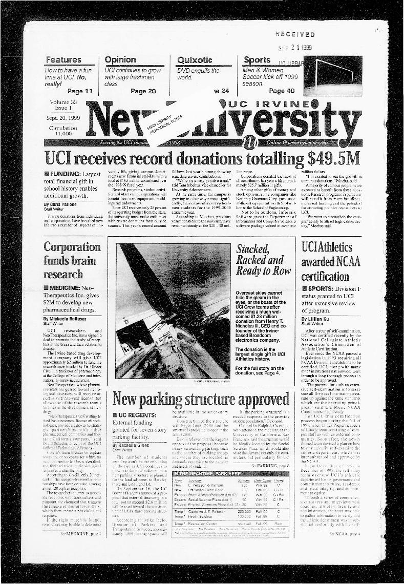 New University (Irvine, Calif.), Vol. 33, No. 01