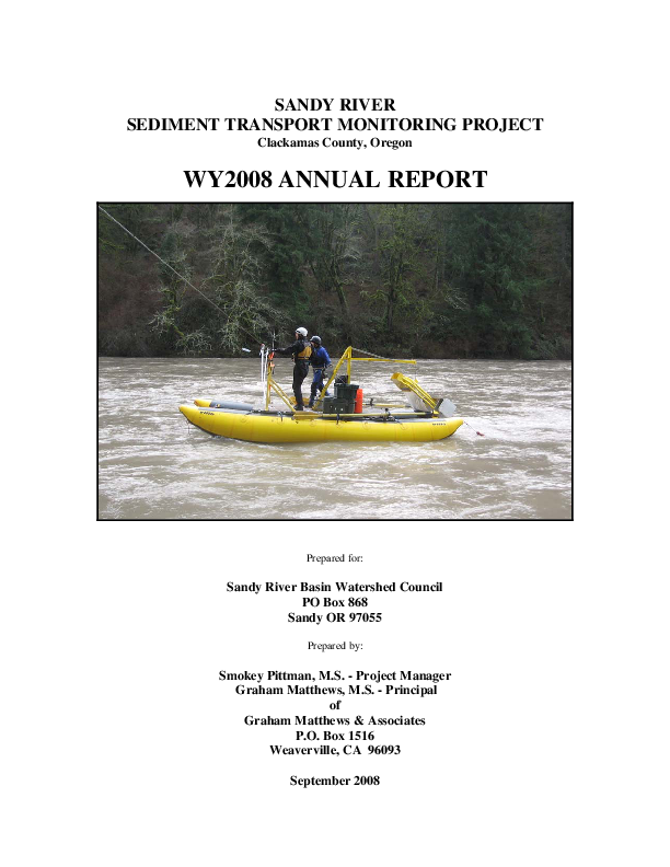 Sandy River Sediment Transport Monitoring Project, Clackamas County, Oregon WY2008 Annual Report