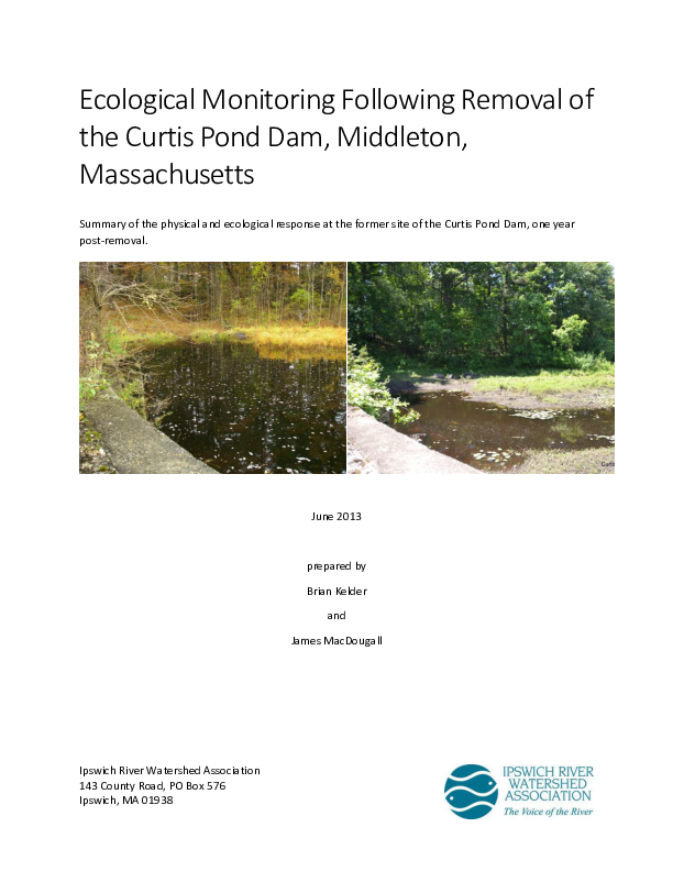 Ecological Monitoring Following Removal of the Curtis Pond Dam, Middleton, Massachusetts