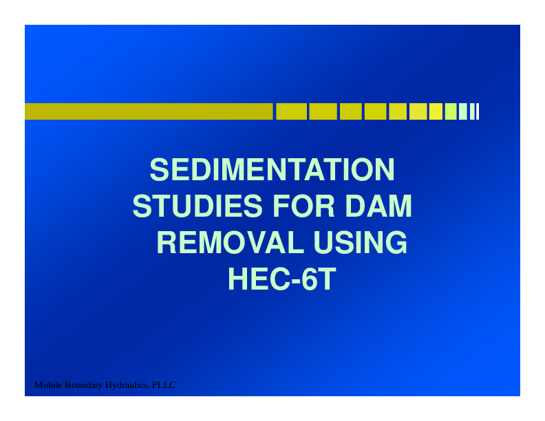The Benefits of Computational Sedimentation Modeling when Planning for Dam Removal