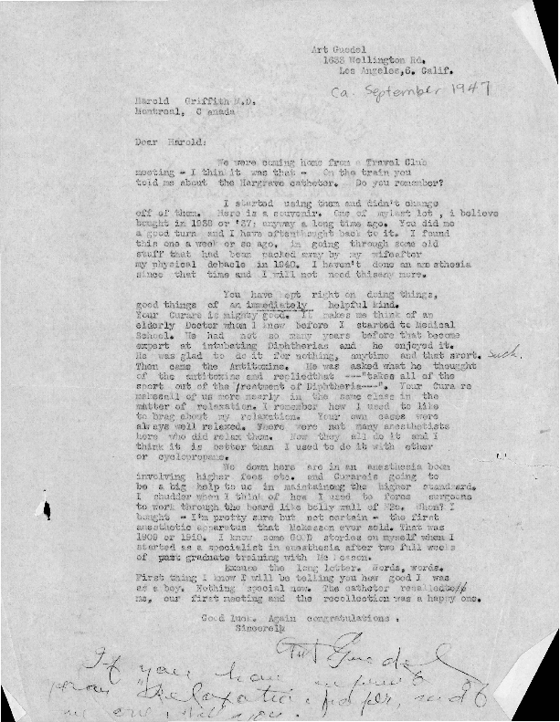 Arthur E. Guedel letter to Harold R. Griffith
