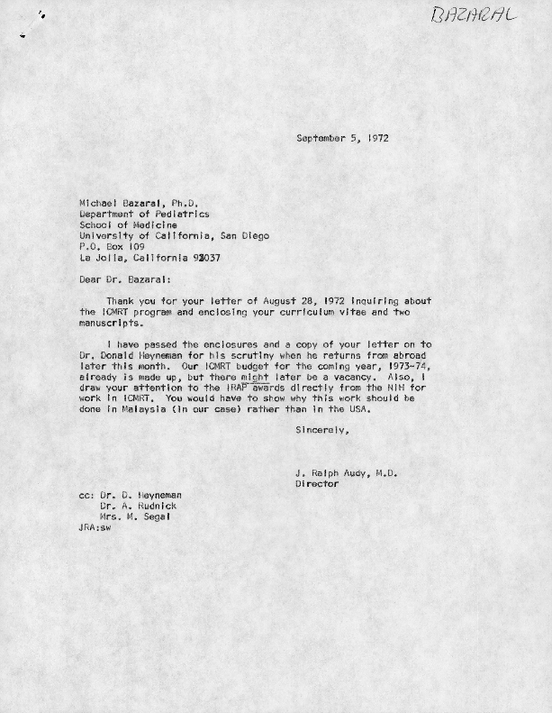Letters between Michael Bazaral and J. Ralph Audy