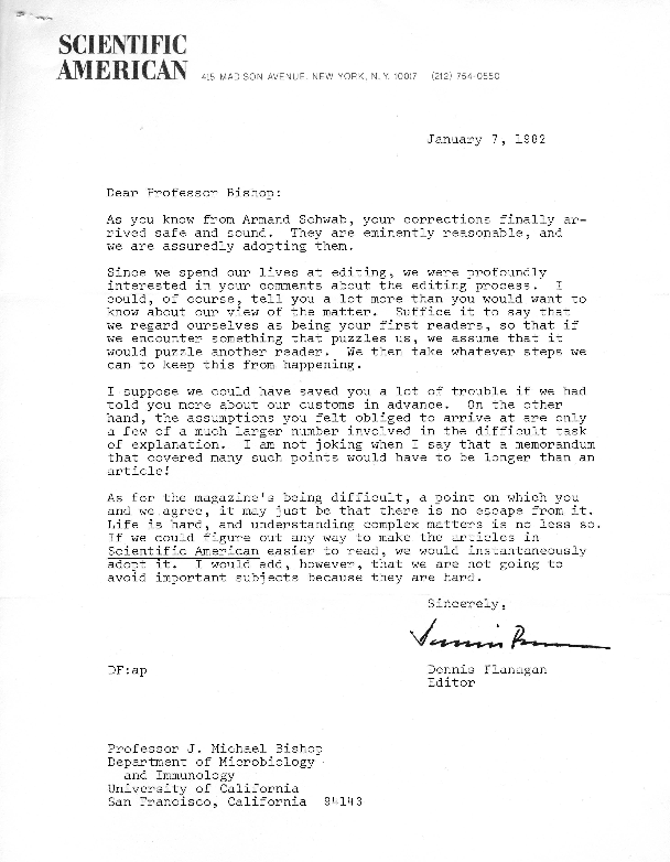 Dennis Flanagan letter to J. Michael Bishop