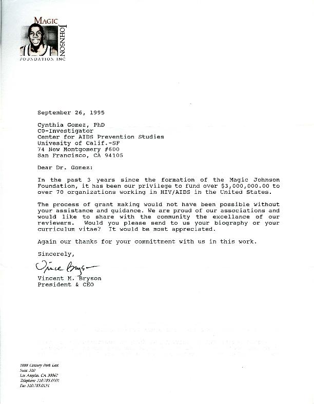 Vincent M. Bryson letter to Cynthia Gomez