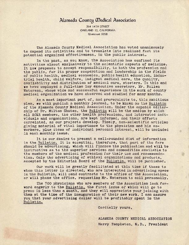 Letter from Harry Templeton