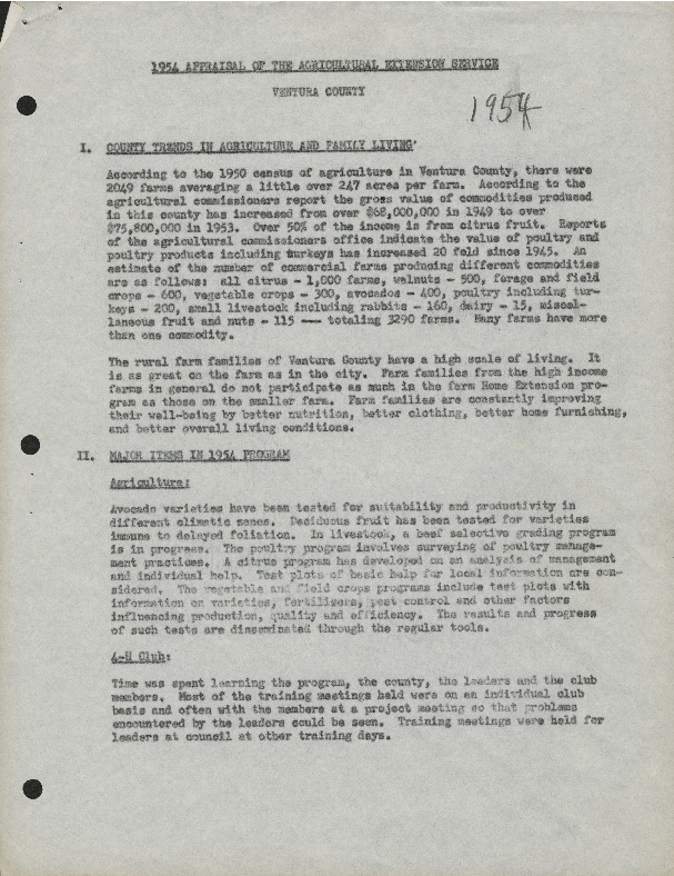1954 Appraisal of the Agricultural Extension Service