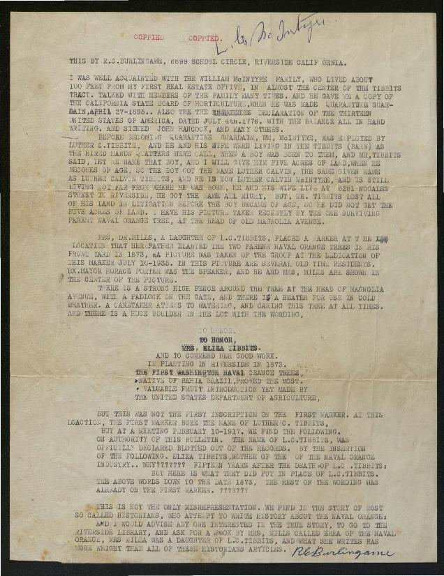 Document regarding the planting of the first Washington Naval Orange trees in Riverside, California